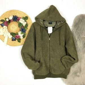 New Boutique olive green teddy coat / hoodie